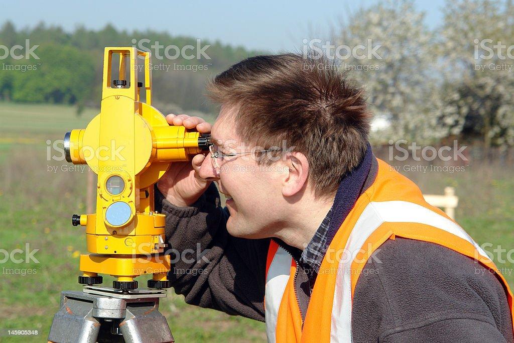 Geodetic survey stock photo