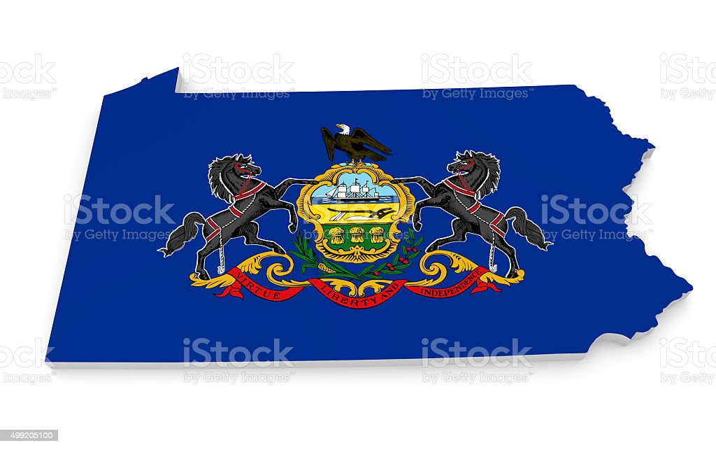 Geographic border map and flag of Pennsylvania, the Keystone State stock photo