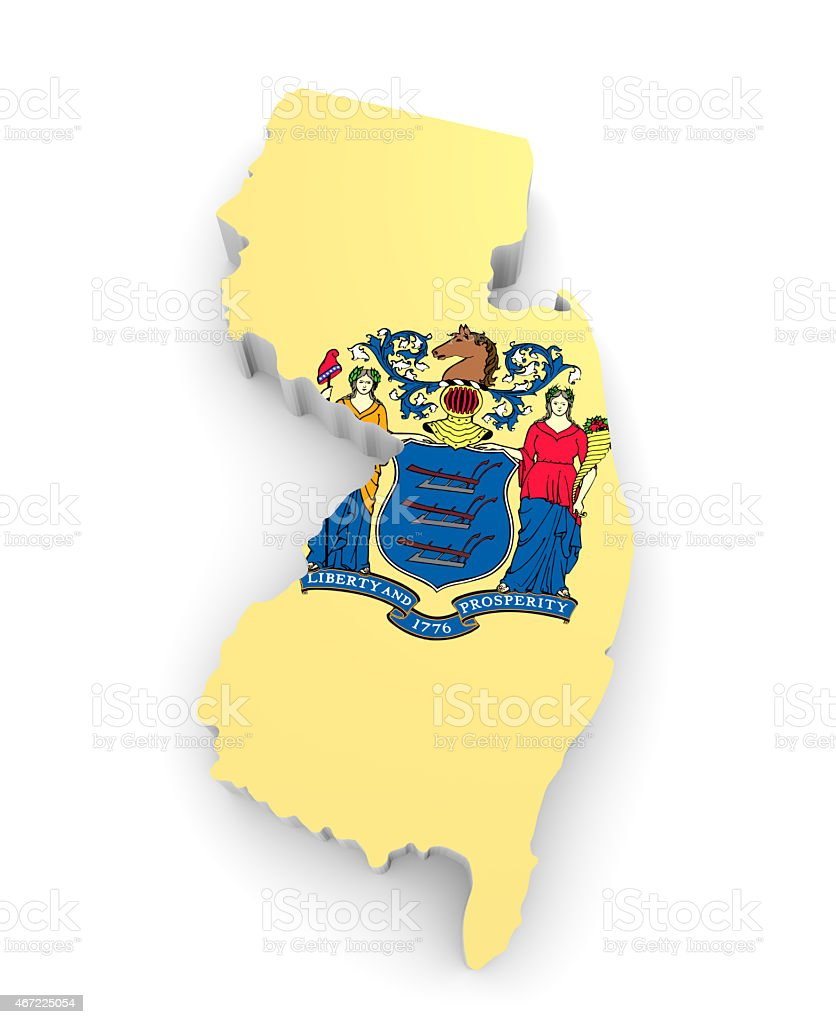 Geographic map and flag of New Jersey, The Garden State stock photo