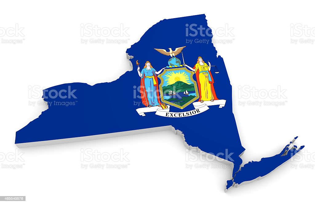 Geographic outline map of New York with the state flag stock photo
