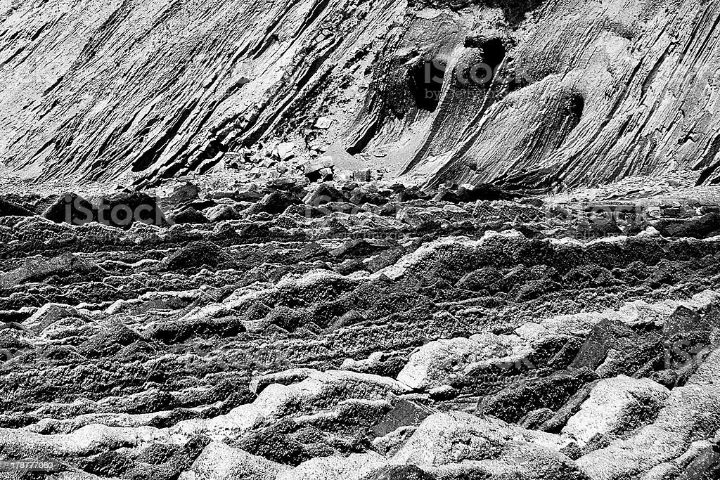 Geologic folds in Zumaias beach, Basque Country royalty-free stock photo