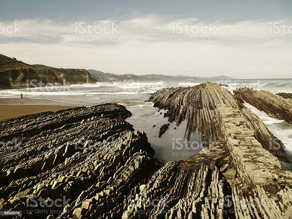 Geologic folds in Zumaias beach, Basque Country stock photo