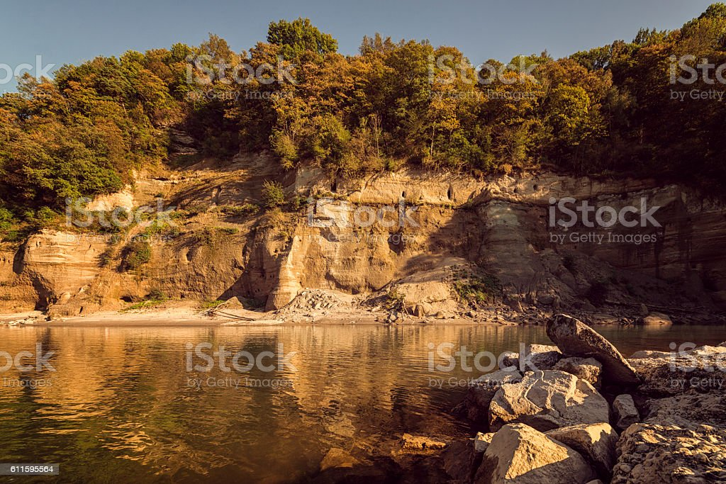 geologic layers at the salzach river bavaria stock photo