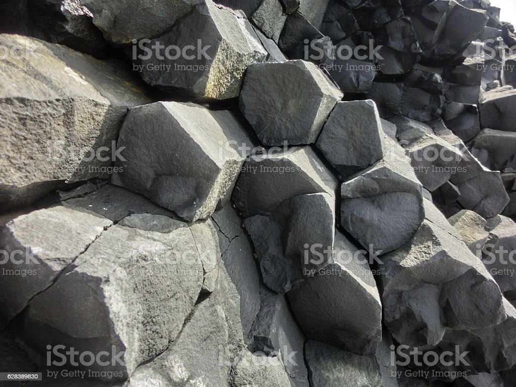 Geological basalt hexagonal rock columns in Iceland stock photo