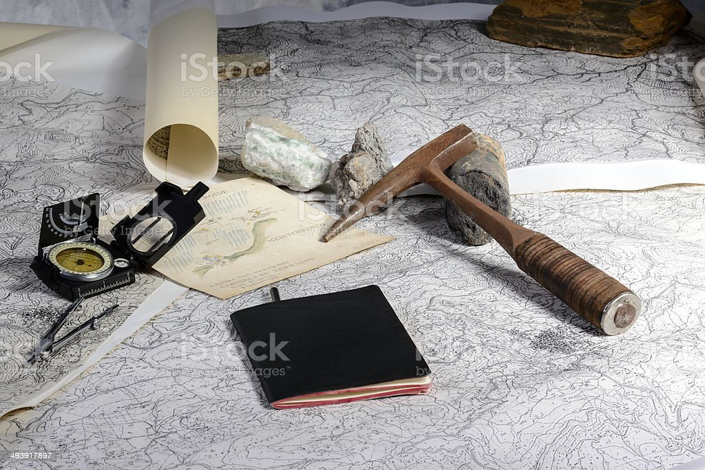 geological expedition stock photo