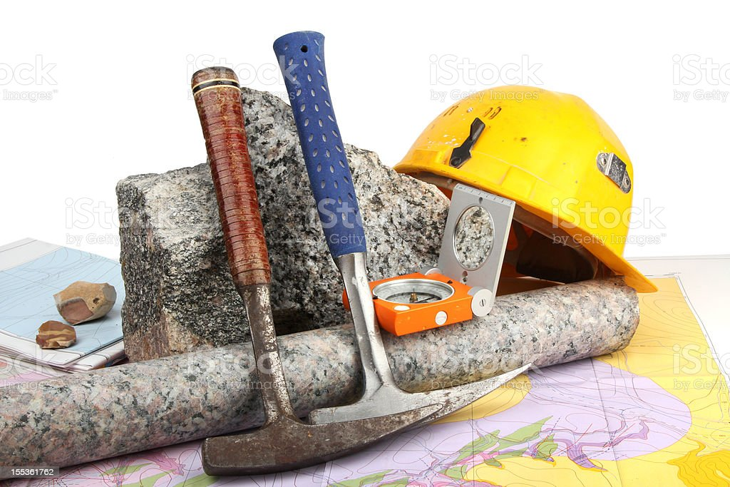Geological fieldwork tools stock photo