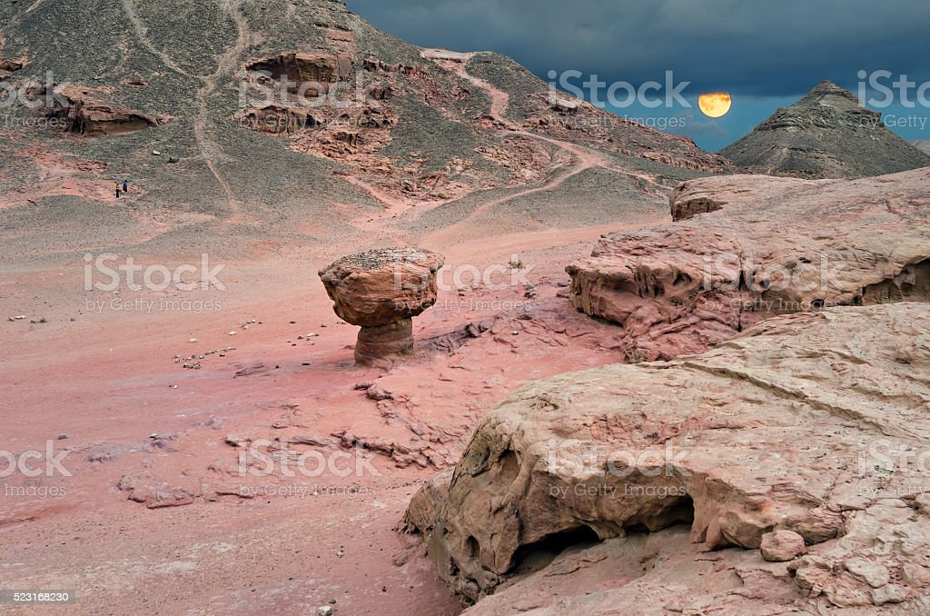 Geological formation in desert park of Timna stock photo