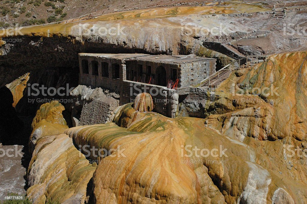 Geological formation of Puente del Inca stock photo