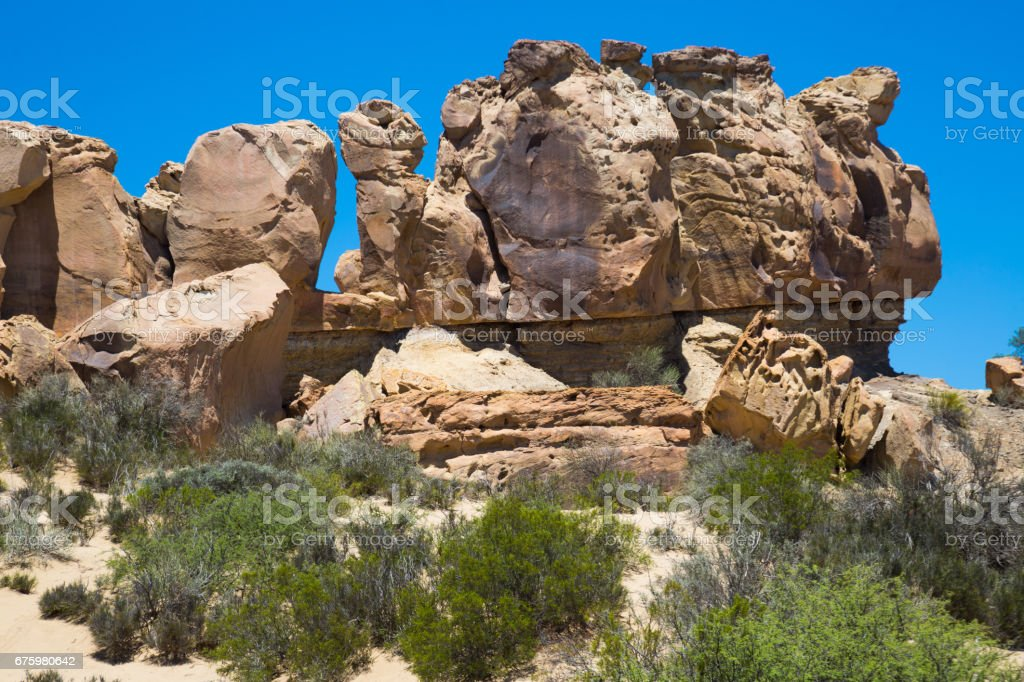 Geological formations in Ischigualasto stock photo