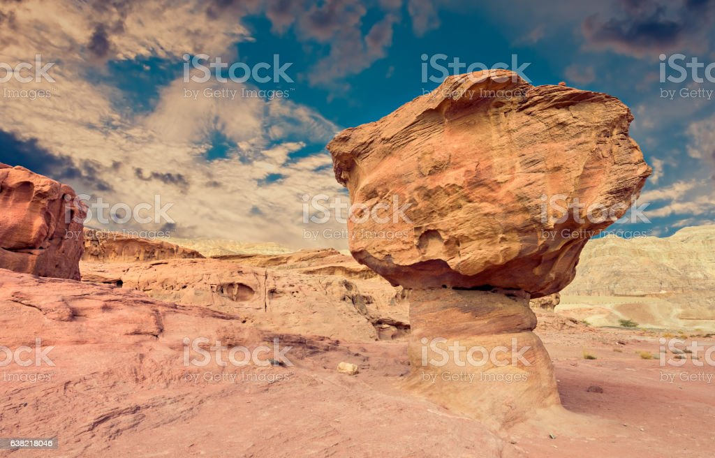 Geological formations in nature desert park of Timna stock photo