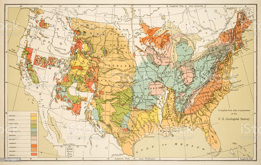 Geological map of the Unites States 1894 stock photo