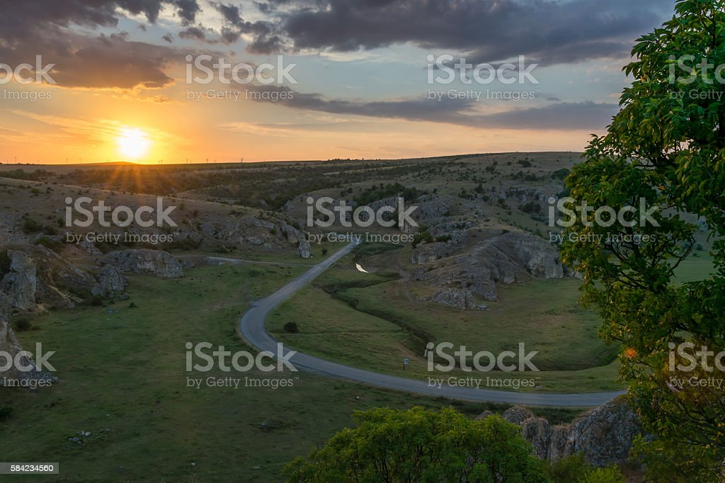 Geological Reservation Cheile Dobrogei during sunset stock photo
