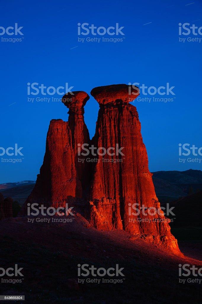 Geological sand stone formatiom at Narman stock photo
