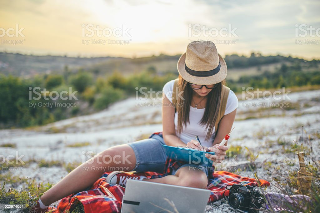 Geologist collecting samples stock photo