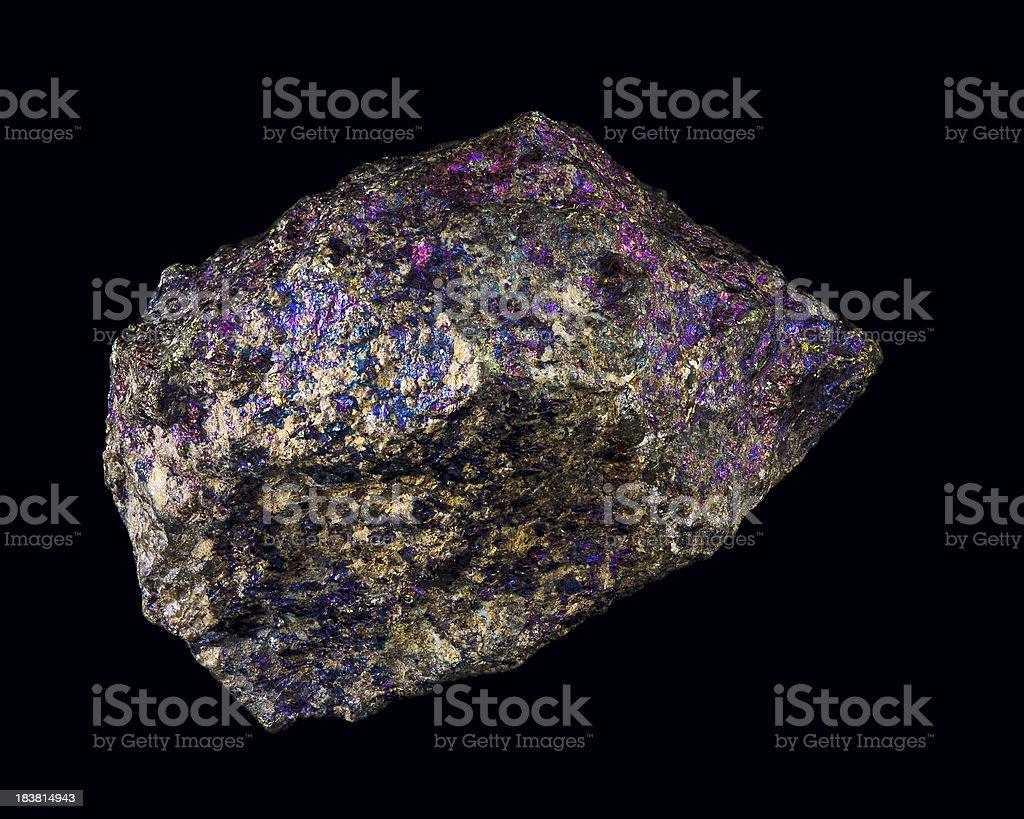 Geology Mineralology Chalcopyrite Ore Sample Isolated on Black stock photo