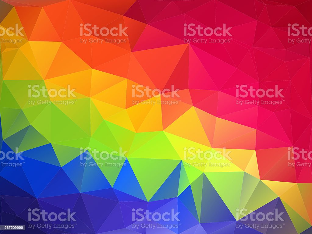 Geometric Abstract Background, Triangular Modern style, Rainbow colors stock photo