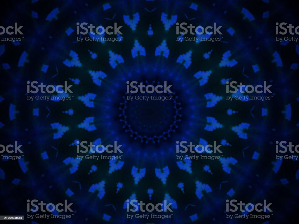 Geometric abstract blue pattern on black background stock photo