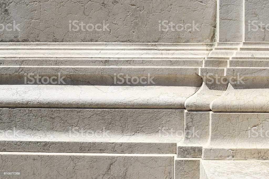 Geometric architectural details of white marble stock photo