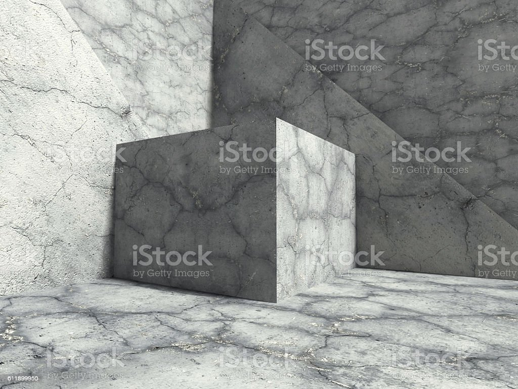 Geometric Concrete Cubes Abstract Construction Under Sunlight. A stock photo