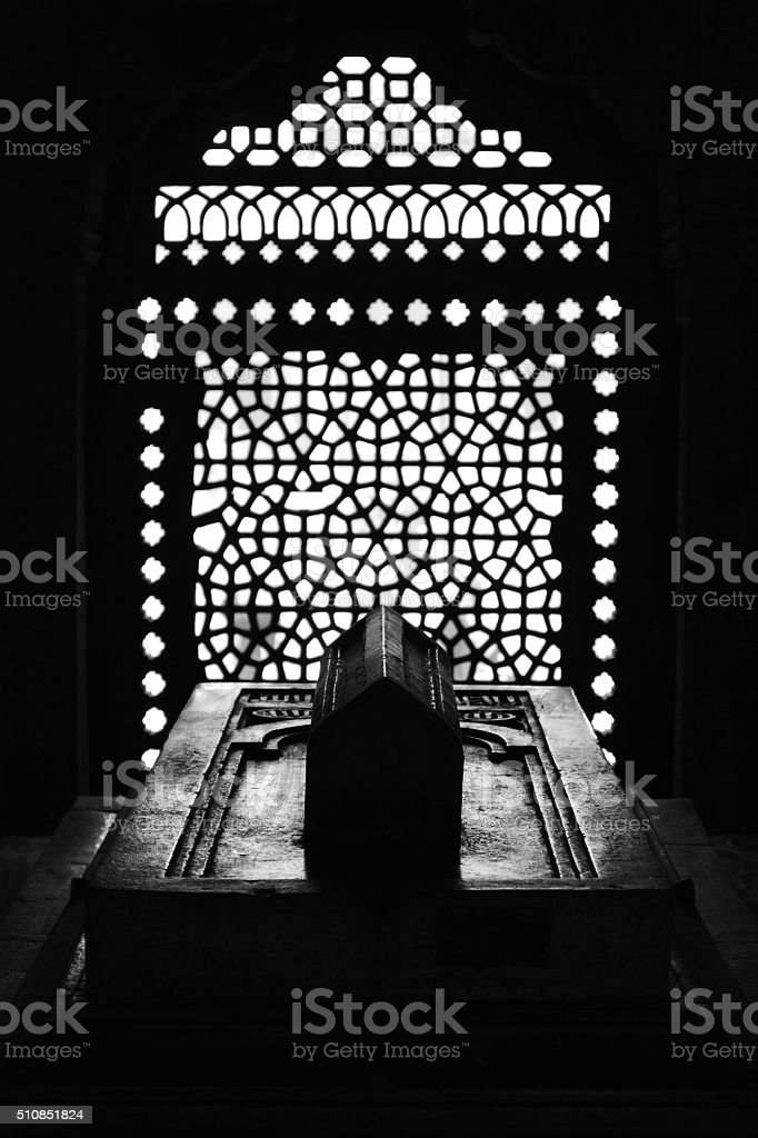 Geometric details from Isa Khan's tomb, New Delhi stock photo