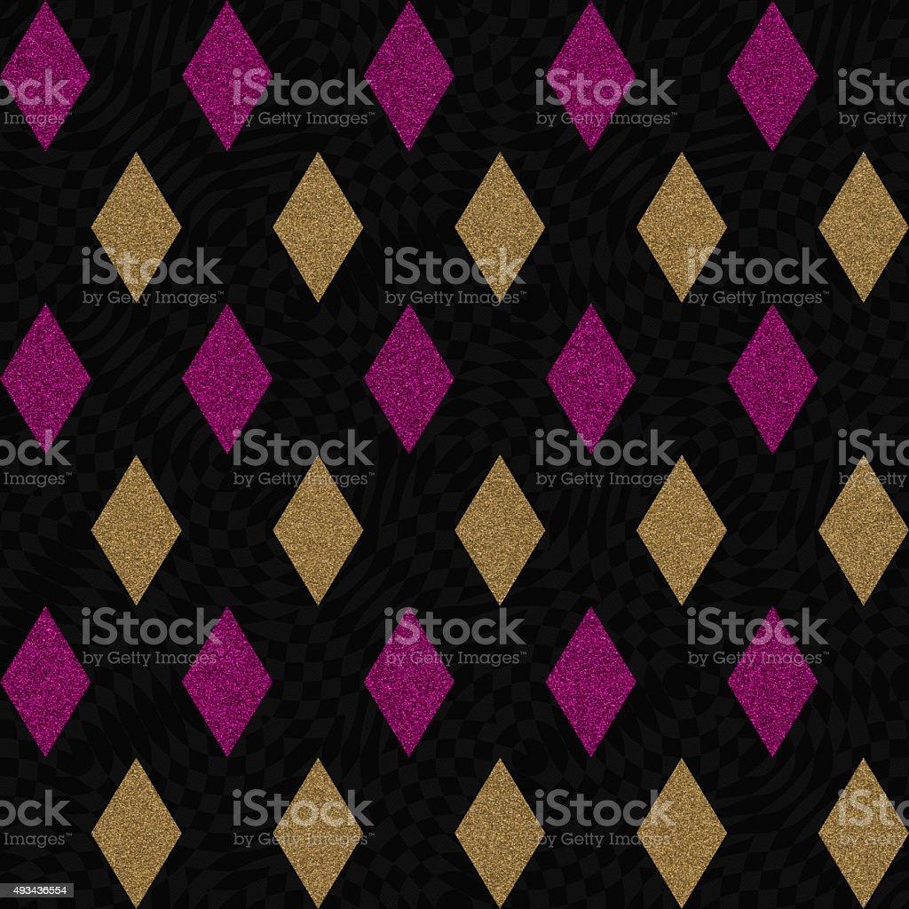 Geometric diamond glitter design on black paper stock photo