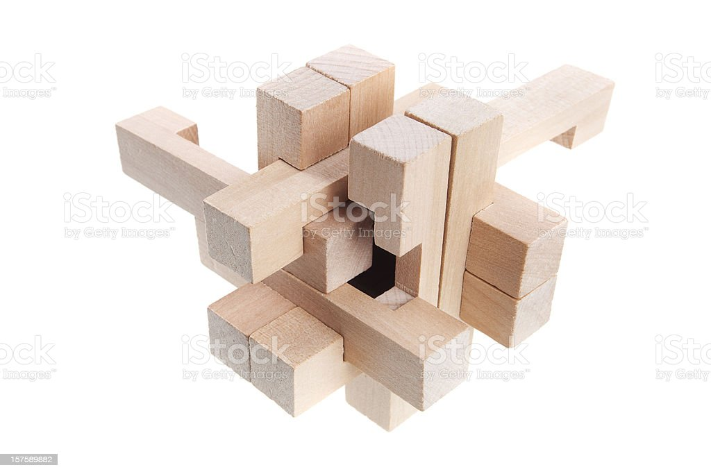A geometric puzzle made out of wood  royalty-free stock photo