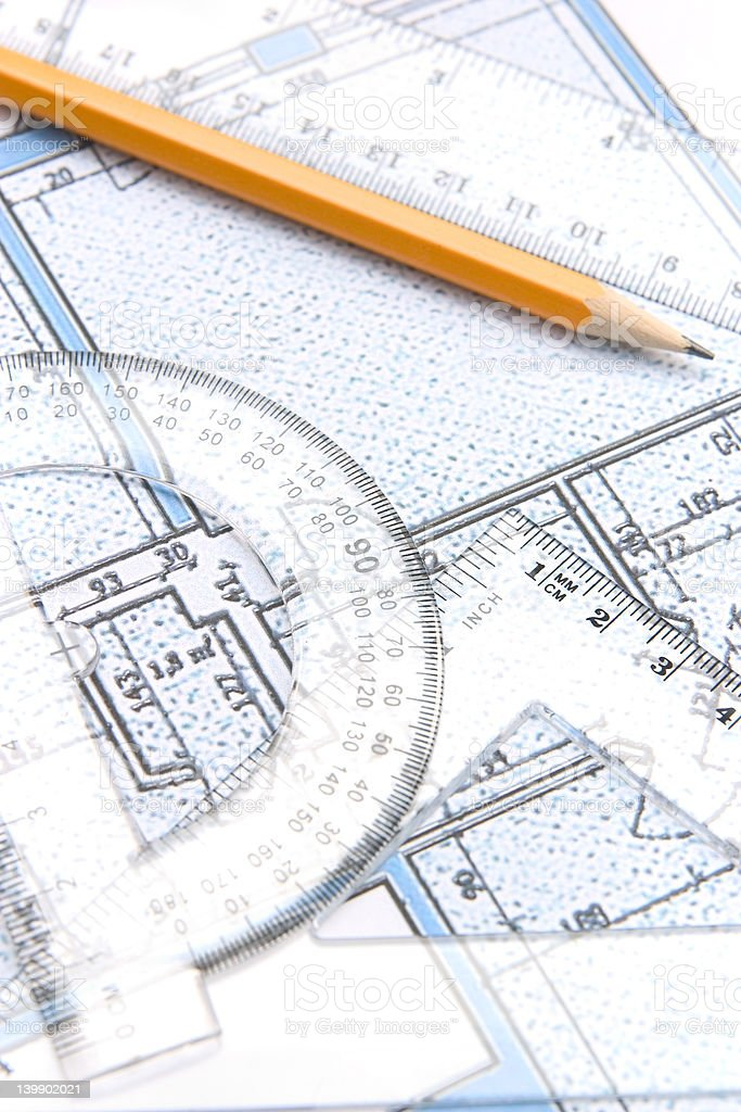 Geometric tools and a floor plan stock photo