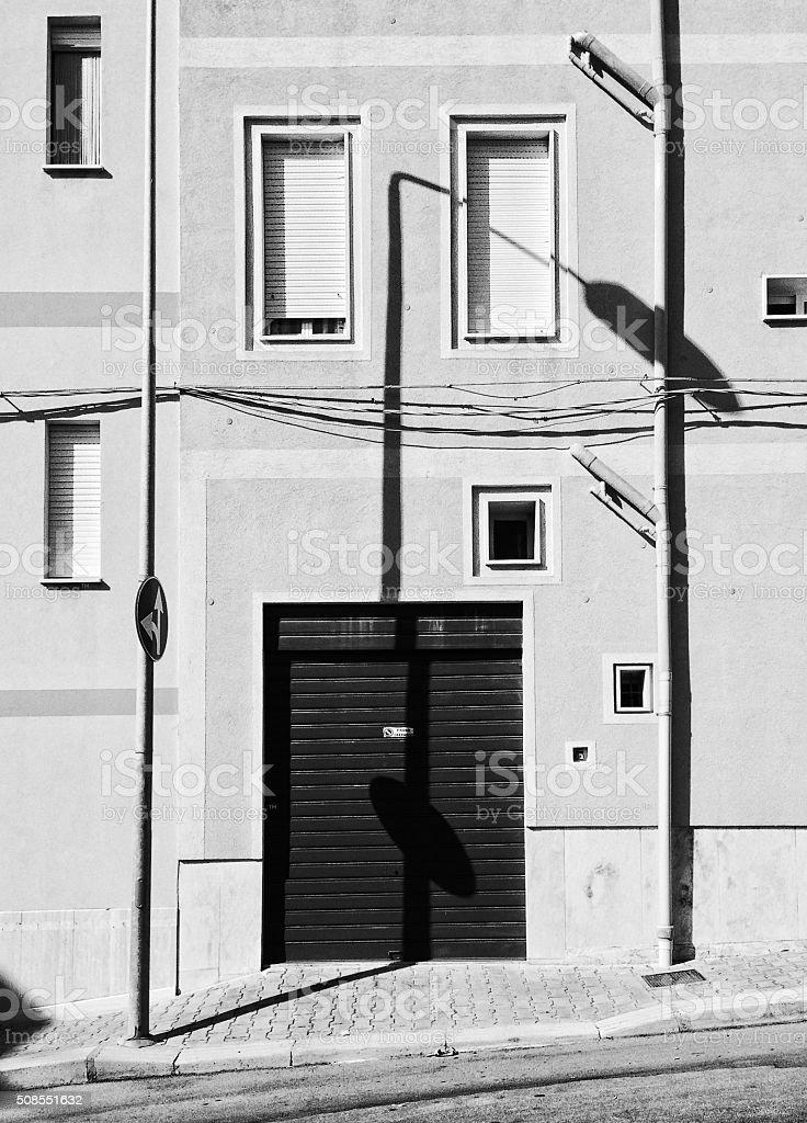 Geometrical urban shadows stock photo