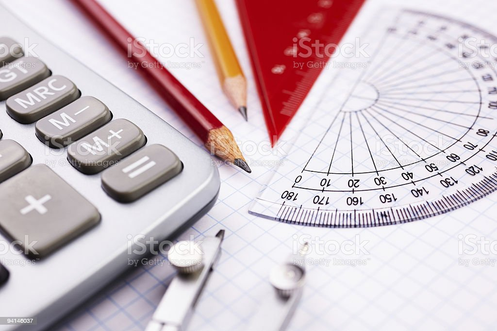 Geometry set with pencil, rules and calculator stock photo