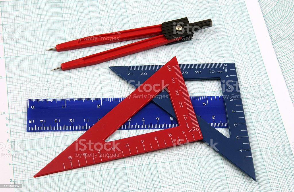 Geometry study tools horizontal royalty-free stock photo