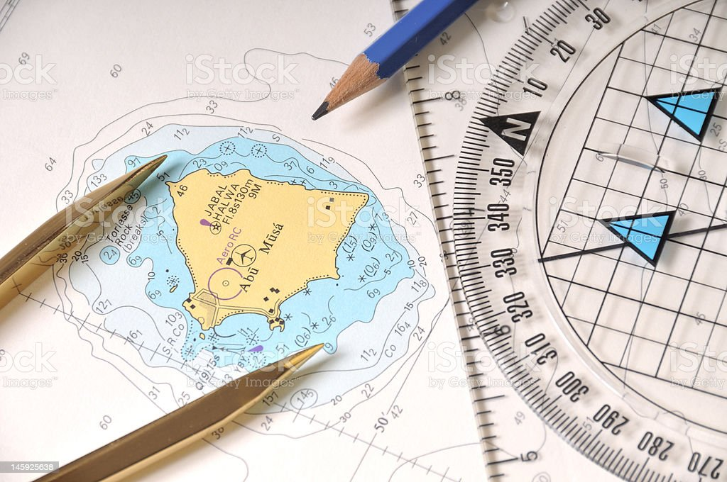 Geometry Tools On A Map royalty-free stock photo