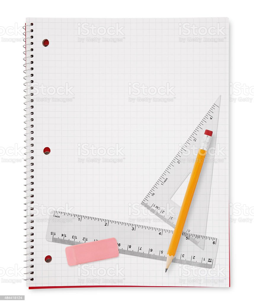 Geometry Tools on Notebook (with path) stock photo