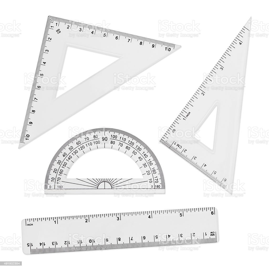 Geometry Tools - Rulers and Protractor (with path) stock photo