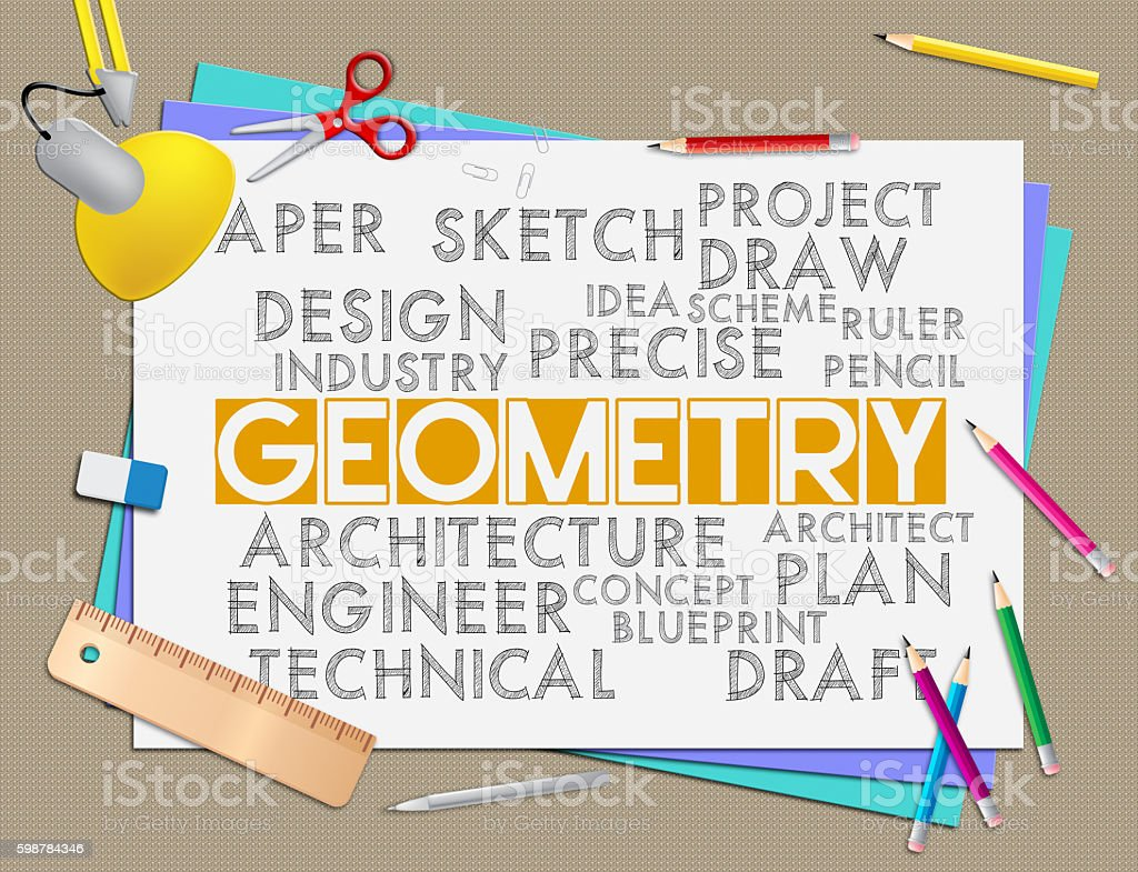 Geometry Words Shows Shape Measurement And Geometric stock photo