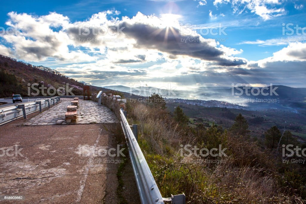 Geopark landscape and road, Caceres, Spain stock photo