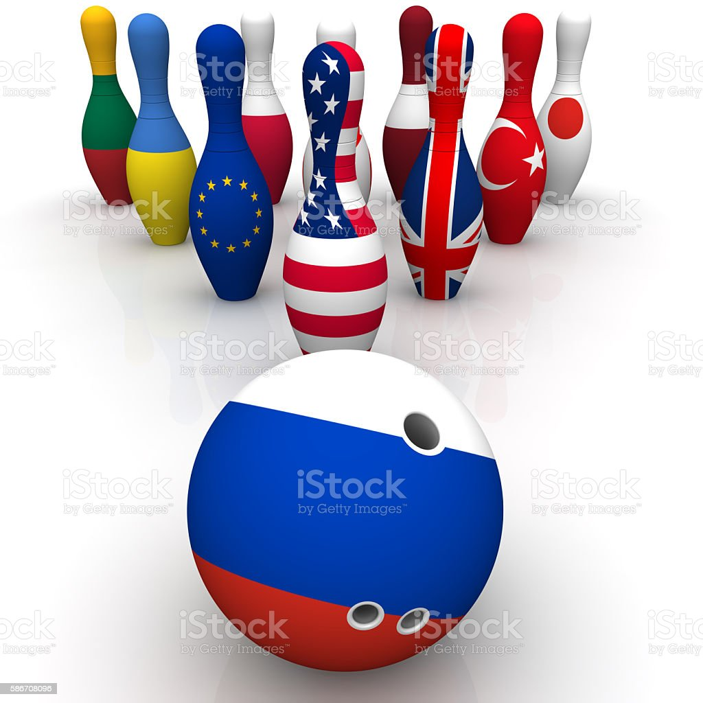 Geopolitics as a bowling game stock photo