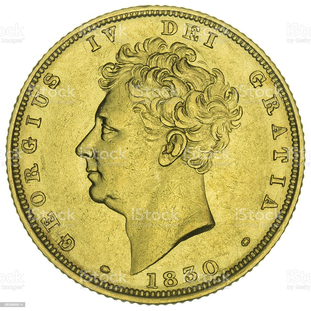 George IV (1820-30) 'Bare Head' Gold Sovereign, obverse stock photo