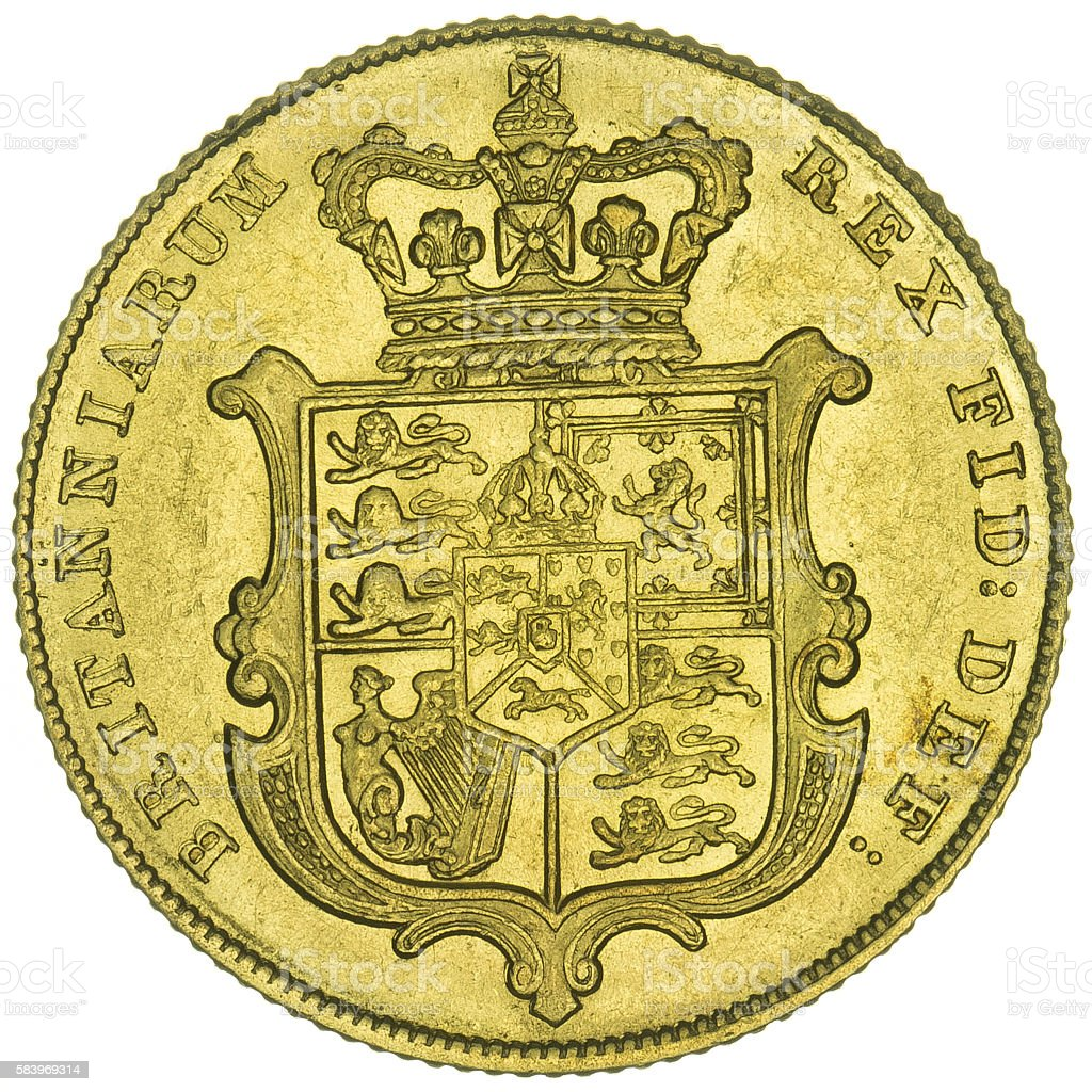 George IV Gold Sovereign Shield Reverse stock photo