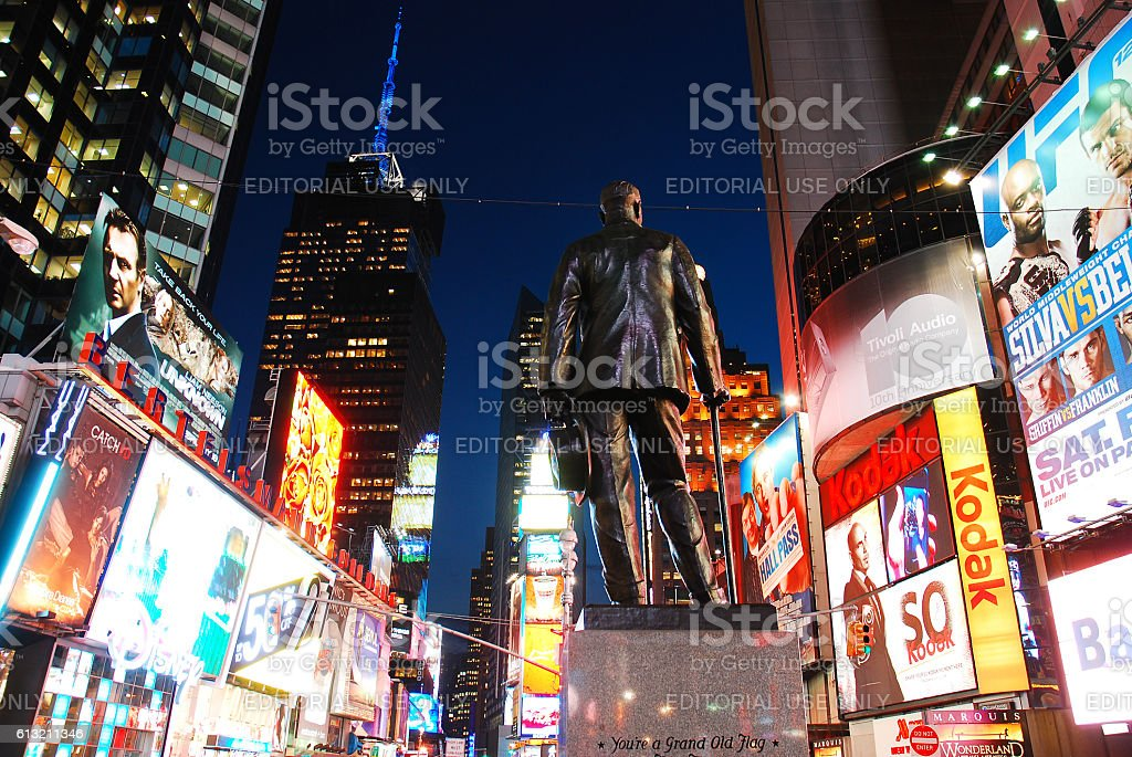 George M Cohan at Times Square stock photo