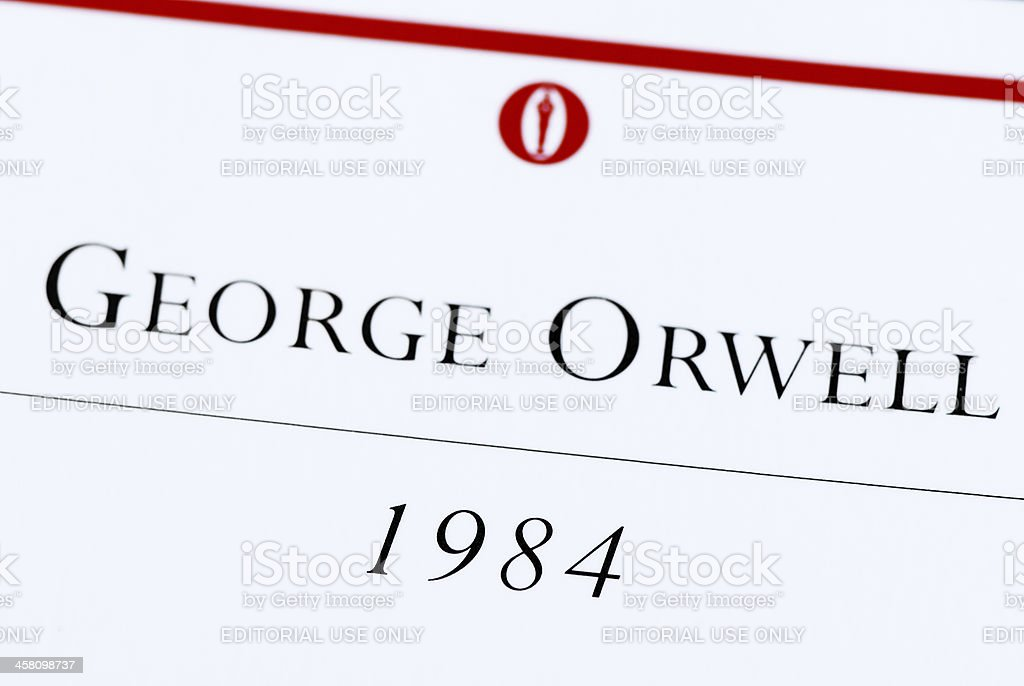George Orwell 1984 book macro stock photo