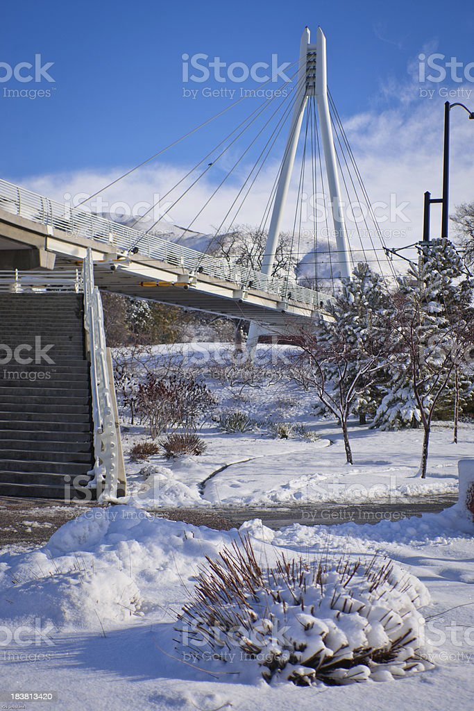 George S. Eccles Bridge, University of Utah stock photo