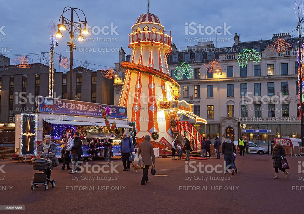 George Square, Glasgow. Helter Skelter, Christmas stall stock photo
