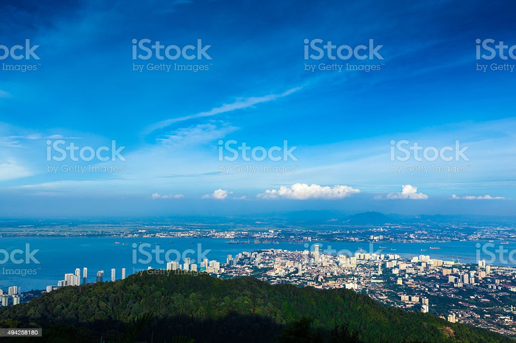 George Town over Penang hill 2 stock photo