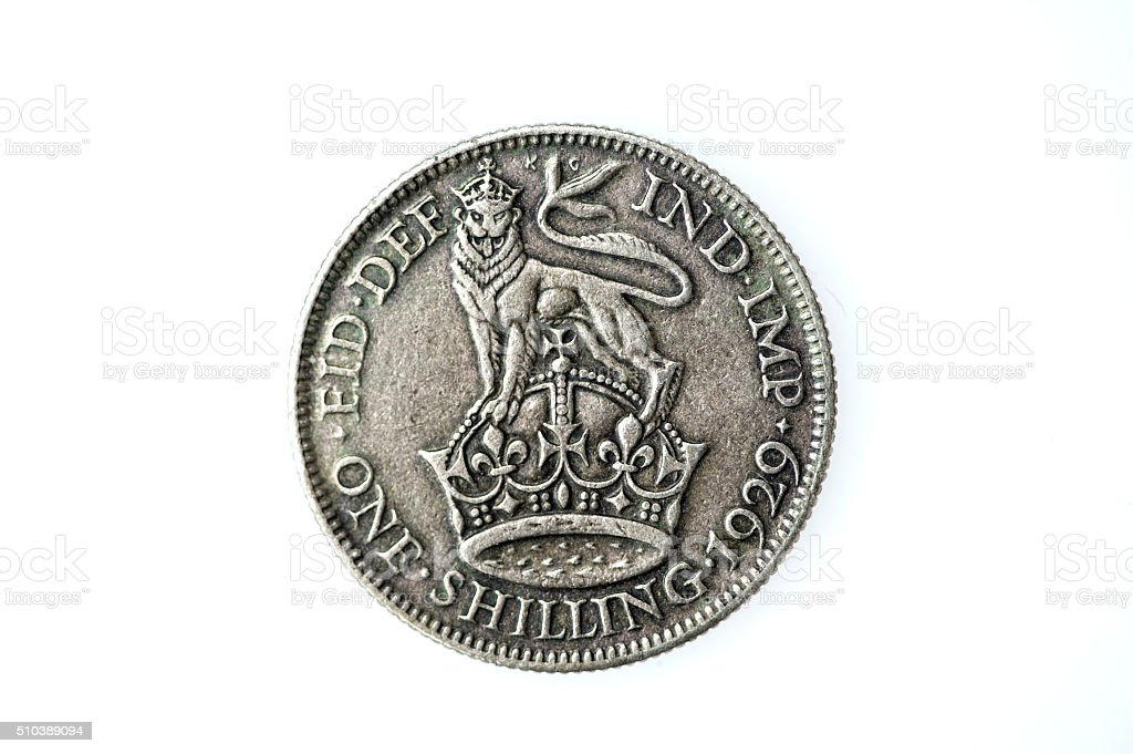 George V silver shilling stock photo
