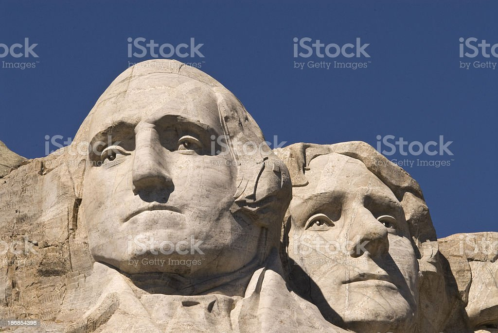 George Washingto and Thomas Jefferson on Mount Rushmore, South D stock photo
