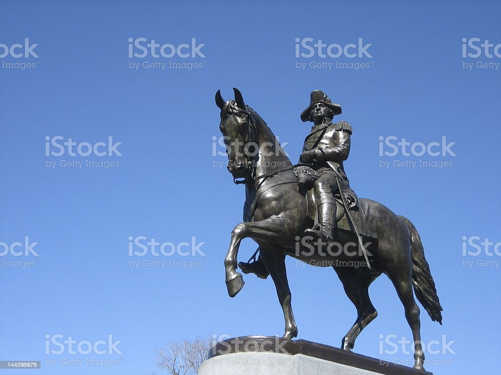 george washington and his horse statue stock photo
