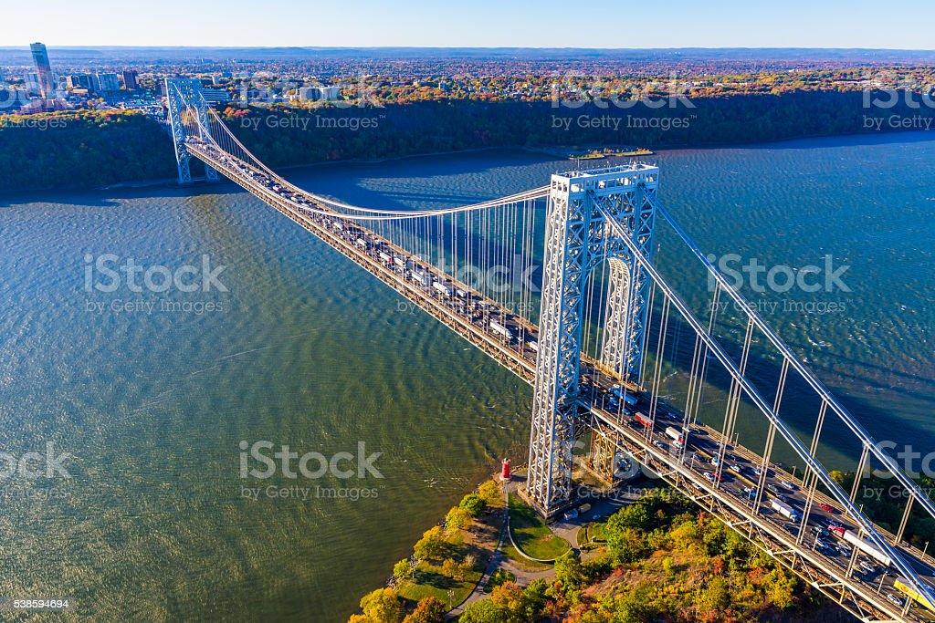 George Washington Bridge, NYC, rush hour, panorama aerial view stock photo