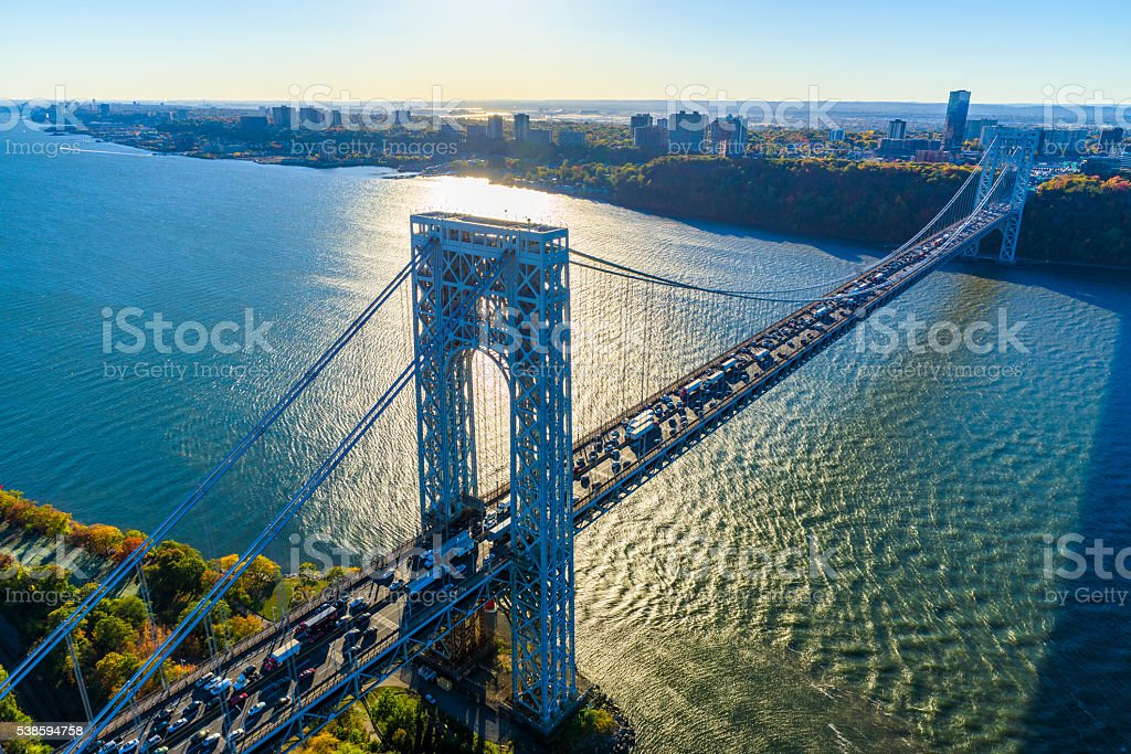 George Washington Bridge, NYC, rush hour, view from helicopter, silhouette stock photo