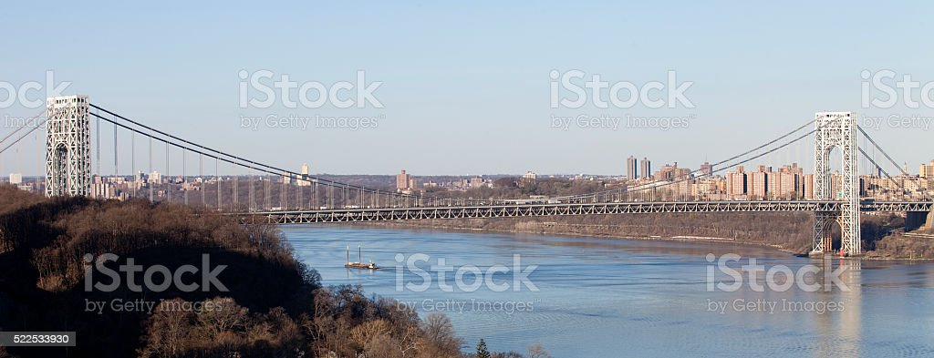 George Washington Bridge panoramic view, looking north from New Jersey stock photo