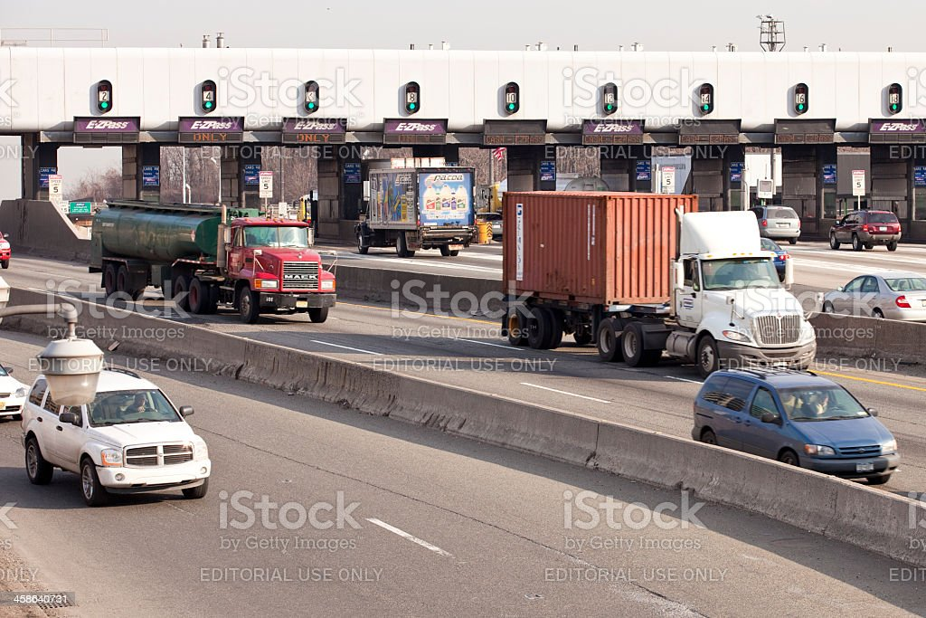 George Washington Bridge toll plaza afternoon trafic stock photo